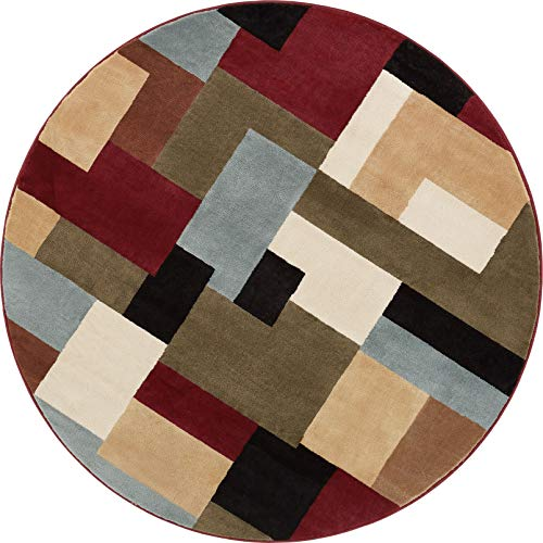 Imperial Mosaic Multicolor Geometric Modern Casual 8 Round ( 7'10'' Round) Area Rug Easy to Clean Stain Fade Resistant Shed Free Abstract Contemporary Color Block Boxes Soft Living Dining Room (Casual Contemporary Dining Room)