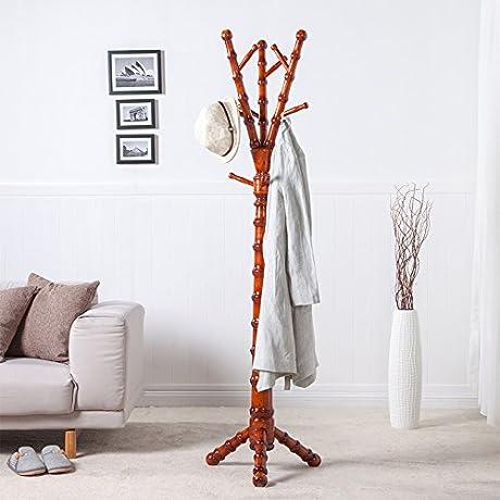Solid Wood Coat Rack Hanger Floor Bedroom Combination Of Bold Chinese Coat Rack Assembling Coat Rack Yellow