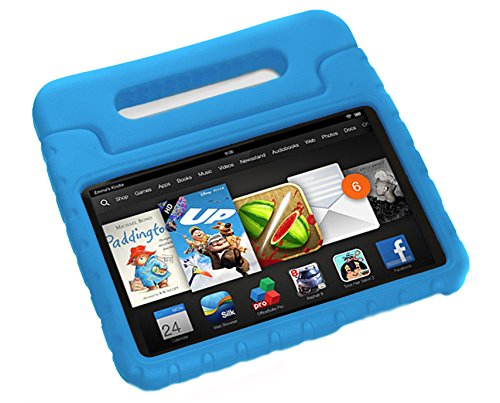 Pwr+ 2014 Fire HD 6 Case - Kids Shock Proof Convertible Handle Light Weight Super Protective Stand Cover for Fire HD 6 Inch 2014 Tablet Blue: (Check Compatibility Photo)