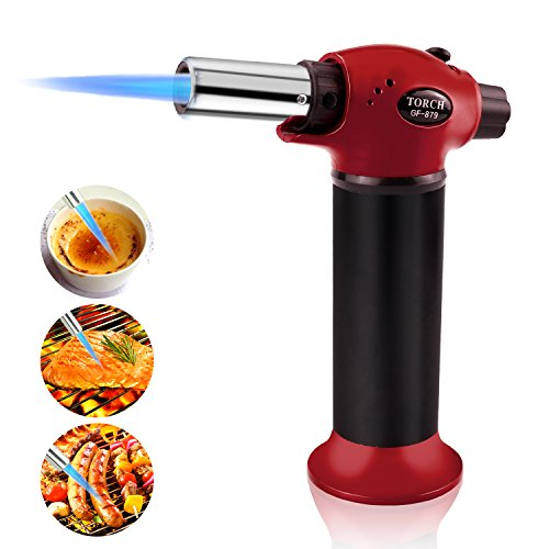 (Newest Kitchen Torch, TedGem Update Cooking Torch Butane Torch Refillable Blow Torch Flame Lighter with Safety Lock Adjustable Temperature & Flame for Creme Brulee, DIY, BBQ, Butane Gas Not Included)