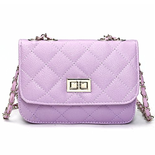 Mini Crossbody Bag, OURBAG PU Leather Quilted Cross Body Shoulder Clutch Purse Evening Handbag with Chain Purple
