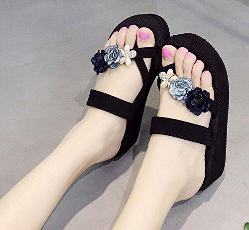 KHSKX-Die Neue Rampe Und Hausschuhe Weibliche Mode Blume Pearl Cool Ziehen Und High Heeled Dicke Sandalen Badeschuhe Tide 36