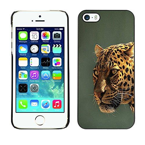 TaiTech / Case Cover Housse Coque étui - Leopard Yellow Teal Grey Feline Big Cat - Apple iPhone 5 / 5S