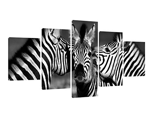 - Yatsen Bridge Zebras Wall Art Painting 5 Piece Black and White Photo Close Up of A Playful Group of Zebras Prints On Canvas The Picture Landscape for Home Modern Decor Ready to Hang(60''W x 32''H)