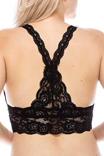 1682ccf9dd3e0 Floral Lace Racerback Unpadded Bralette Top Sheer Bustier Crop Wirefree  Lingerie Bra at Amazon Women s Clothing store