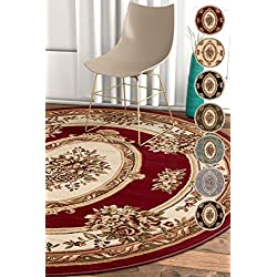 "Well Woven Pastoral Medallion Red French 8 Round (7'10"" Round) Area Rug European Floral Formal Traditional Area Rug Easy Clean Stain Fade Resistant Shed Free Modern Classic Thick Soft Plush Rug"