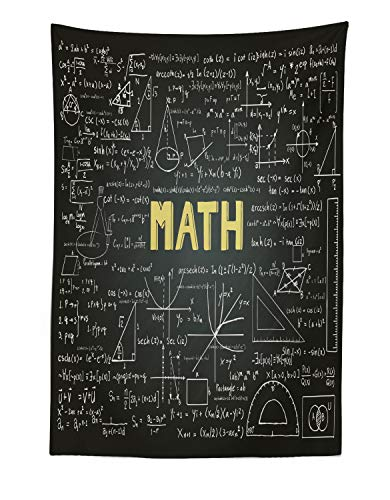 Lunarable Mathematics Classroom Tapestry, Dark Blackboard Backdrop with Math Equations Geometry Axis Art, Fabric Wall Hanging Decor for Bedroom Living Room Dorm, 30
