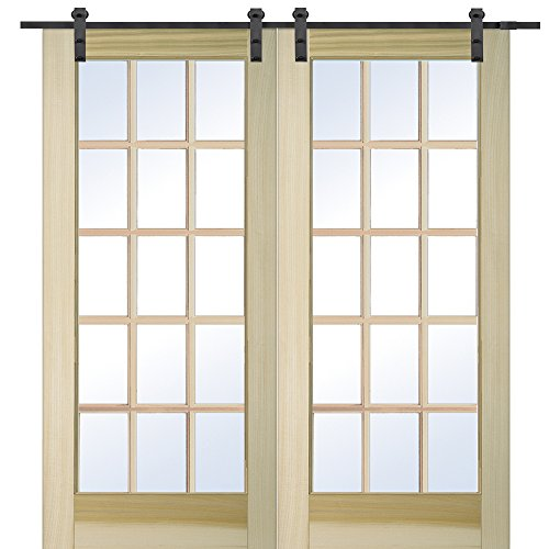 National Door Company Z009638 Unfinished Poplar Wood 15 Lite True Divided Clear Glass, 60'' x 80'', Barn Door Unit by National Door Company
