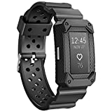 JIELIELE Charge2 Bands Rugged Protective Silicone Frame Case, Resilient Anti Impact Band Strap Ultimate Protection Replacement Wristband Men Accessory Compatible Fitbit Charge 2 HR (Black)