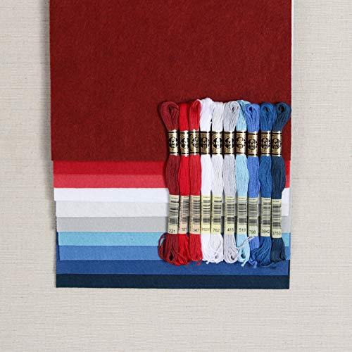 Felt Wool Floss - Wool Blend Felt, Red, White and Blue Colors, 10 Sheets (10 9x12
