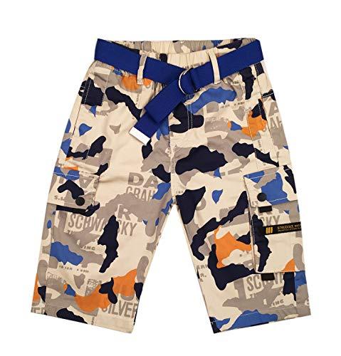 Boys Camouflage Cargo Classic Shorts Multi-Pocket Fashion Belted Shorts