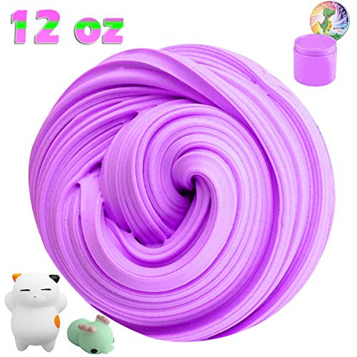 Jumbo Fluffy Floam Slime Stress Relief Toy Scented Sludge Toy for Kids and Adults, With 2 Pcs Mini Mochi Squishy Toys, ASTM Certified, Purple (Containers 12 Ounce Container)