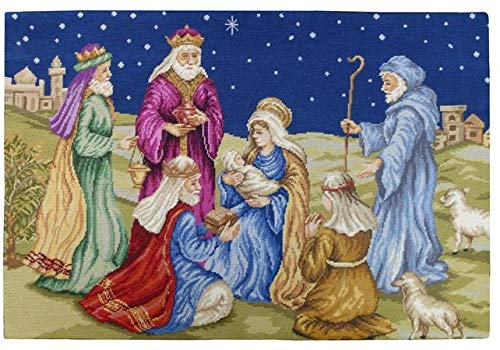 EuroLuxHome Wall Hanging Artwork Nativity 36x24 Wool Yarns New Hand-Embroidered - Needlepoint Nativity