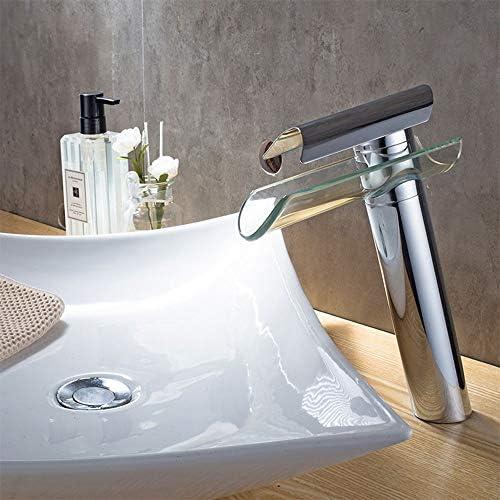 毎日の装飾ミキシングタップ蛇口洗面台広口ガラス滝耐摩耗性高温耐食性蛇口タイルシンクホットとコールド耐久性のある蛇口