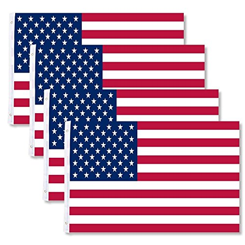 4-Pack 3x5 American Flags w/Grommets ~ USA United States of