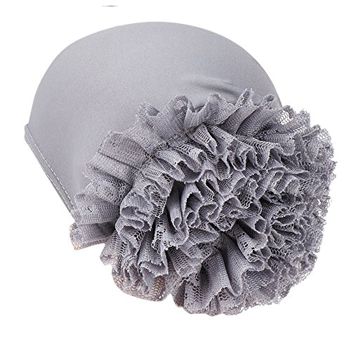 EnjoCho✿✿New Woman Big Flower Turban Elastic Cotton Blend Hair Bands Hat Chemo Beanie Ladies Muslim Scarf Hair Accessories (Gray)
