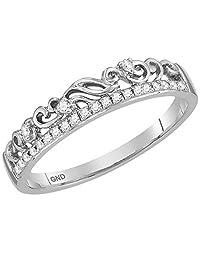 Ladies 10K White Gold Floral Diamond Stackable Fashion Enhancer Contour Ring 1/12 CTW