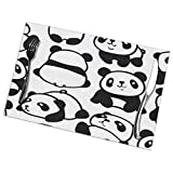 BEASDEN Set of 6 Heat-Resistant Placemats Cute Pandas Trendy Anti-Skid Washable Table Mats Dining Table/Kitchen
