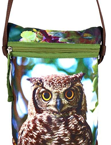 Digital Graphic Owl Viso Corpo Croce Satchel indiano Handbag - Adorabile stampa all-over - Poliestere Dupion Faux Seta - 8 x 10 x 2,5 pollici