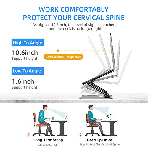 Laptop Stand, Height Adjustable Aluminum Laptop Holder,Compatible with MacBook Air Pro, Dell, HP, Lenovo Light Weight Aluminum Up to 17\