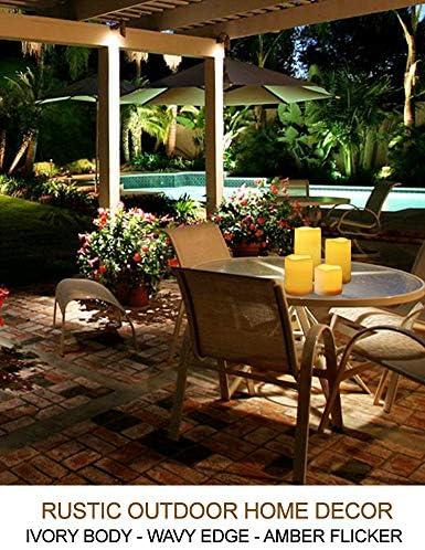 Casa más Set de 4 LED vela pilar con temporizador (3