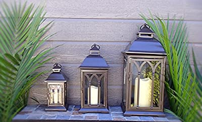 Set of 3 Outdoor Indoor or Outdoor Lanterns - Bronze