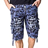 Dacawin Multi-Pockets Casual Camouflage Cargo Short Pants Men Fit Outdoors Work Beach Trousers