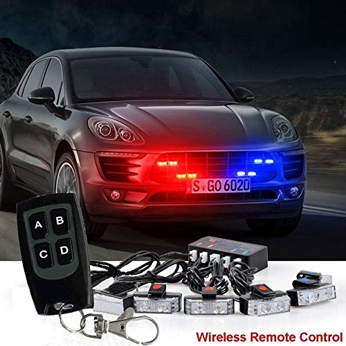 16 led Red&Blue Flashing Mode Emergency Vehicle Dash Warning Strobe Flash Light strip with remote strip with remote - Led Flashing Blue