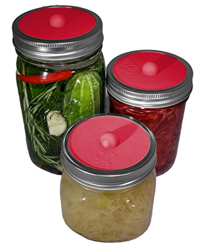 Maintenance free silicone airlock waterless fermentation lids for wide mouth mason jars. BPA free, mold free, dishwasher safe. 5 pack. Premium Presents brand. Red