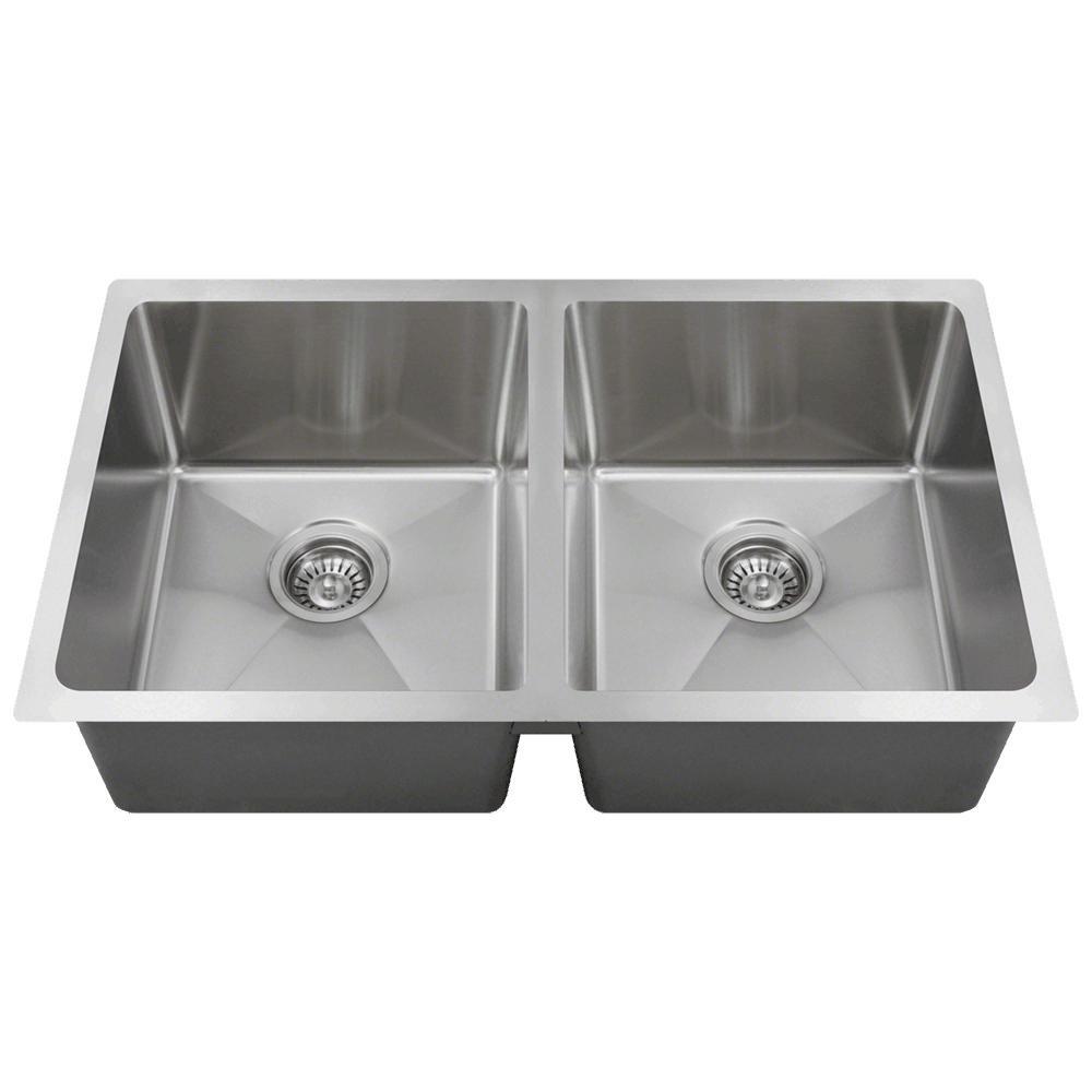 3120D 18-Gauge Undermount Double Bowl 3/4-Inch Radius Kitchen Sink