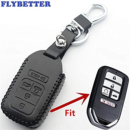 Fricgore - 1Pc Car Key Cover_ Leather 5Button Keyless Entry Smart Key Case Cover For Honda Civic/Accord/Pilot/CRV Car Styling L392 - (Color Name:Black)