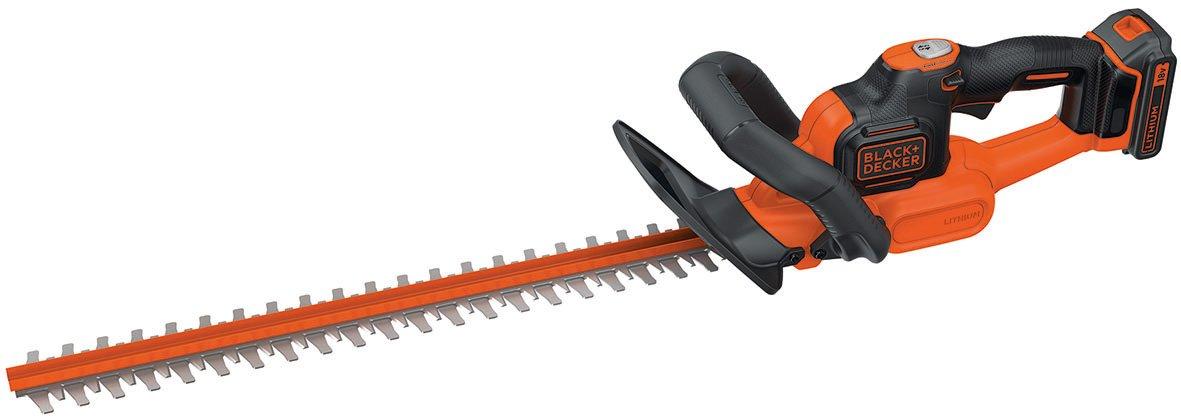 Black + Decker 18 V, 2.0 Ah Akku-Heckenschere Antiblockierfunktion, Ladegerät, 45 cm Schwert, Ø 18 mm, GTC18452PC