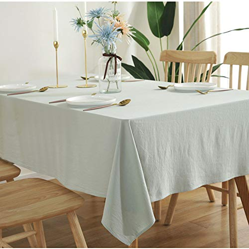 Amzali Classic Solid Color Washable Cotton Linen Tablecloths Fabric Tablecloth Dust-Proof Table Cover for Kitchen Dinning Tabletop Home Decoration (Rectangle/Oblong, 55 x 70 Inch, Light Green)