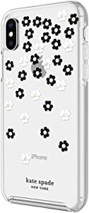 Kate Spade New York Protective Hardshell Case for iPhone Xs & iPhone X - Scattered Flowers Black/White/Gold Gems/Clear