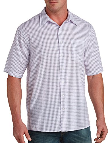 Harbor Bay Big & Tall Patterned Seersucker Sport Shirt Blue Multi (Seersucker Big Shirt)