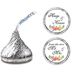324 Floral Roses Hugs and Kisses from The New Mr. & Mrs. Hershey Kiss Wedding Stickers, Chocolate Drops Labels Stickers for Weddings, Bridal Shower Engagement Party, Hershey's Kisses Party Favors