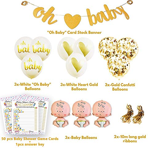 Baby Shower Party Decorations Kit Unisex, Girls and Boys | Oh Baby Banner Neutral Decor | 12 Pcs Balloon Set | Glitter Unisex Pregnancy Announcement Gender Reveal Party | 50 Pcs Premium Baby Shower Emoji Game Cards by Newborn Party (Image #1)