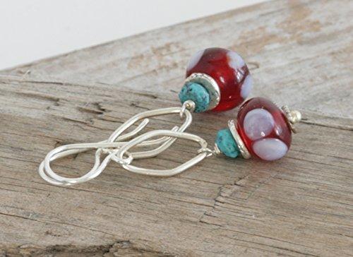 Hill Tribe Silver Dangle - POLKA-DOT Lampwork Turquoise Sterling and Hill Tribe Silver Dangle Drop Earrings