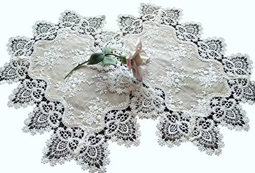 Galleria di Giovanni Lace Doilies Place Mat End Table Doily Neutral Burlap Natural Taupe Antique Ivory Victorian Dresser ()