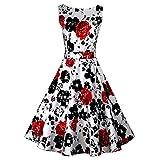 Ezcosplay Women Vintage 1950's Floral Hepburn Style Garden Party Swing Dress