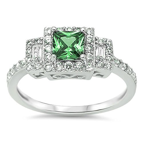 Simulated Emerald Square Halo Cutout Polished Ring .925 Sterling Silver Band Size 9