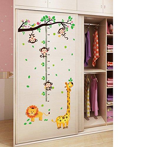 AOOYOO Messlatte Dschungel L/öwe Giraffe AFFE Kinderzimmer Wandtattoo Wandbild Kind 168