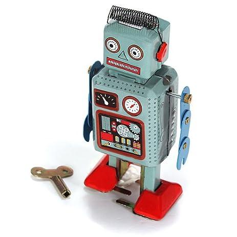 mecotmblue wind up walking radar robot tin toy clock