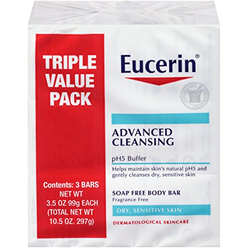Eucerin Advanced Cleansing Body Bar Soap for Sensitive Skin - Fragrance and Soap Free Body Wash Bars - 3.5 oz. (Pack of 3)
