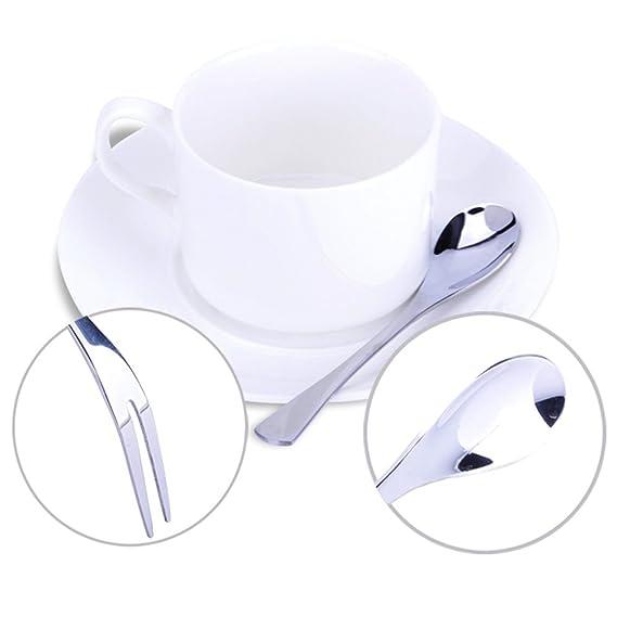 Vanra 5.3in 4 piezas Juego de cubiertos plata 18/10 acero inoxidable de 2 tenedores y 2 cucharas Ensalada Set Tenedor cucharilla de cóctel Tenedor cuchara ...
