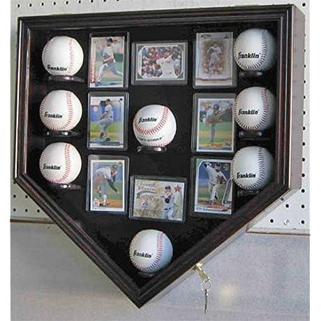 Mahogany Baseball Shadow Box Display Case Cabinet Uv Protection Lock
