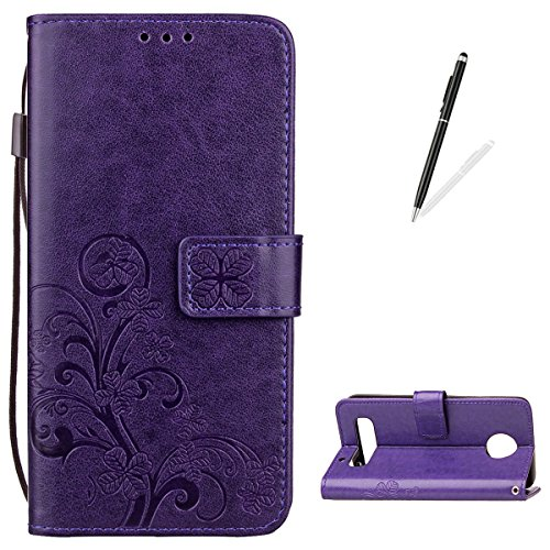 (KaseHome Moto Z Play Leather Case [Free Black Stylus Pen],Flip Magnetic Wallet Cover Elegant [Four Leaf Clover] Embossed Design with Money Pouch Wrist Strap Slim Durable Holster Shell- Purple)