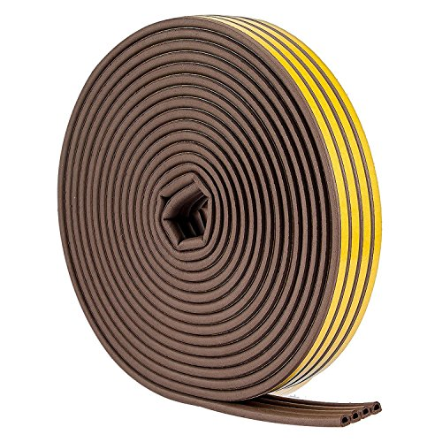 52Feet/16m Weather Stripping for Doors - Weatherstrip 3m Seal by Savina, Soundproofing Seal Strip, Door/Window Anti-Collision, 4 Seal (D Type - Brown)