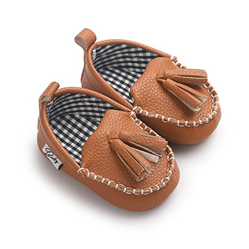 Itaar Baby Boys Girls Moccasin Slippers Loafers Soft Sole PU Leather Flats Boat Shoes, Brown, 0-6 Months