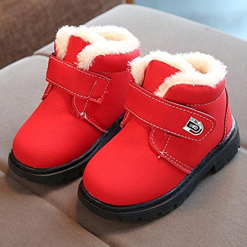 Hunpta Kinder Mode Jungen Mädchen Sneaker Winter Dick Schnee Baby Casual Schuhe Rot